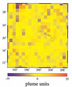 Модель плюмоподобных неоднородностей в нижней мантии, рассеивающих длиннопериодные Р-волны в Гавайском регионе.