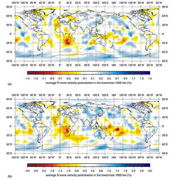 Глобальные схемы изменчивости скорости продольных (а) и поперечных (б) волн в нижнем 1000-километровом слое мантии.
