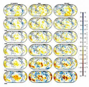 Сечения на глубинных уровнях 900, 1200, 1600, 2000, 2400, 2800 км в нижней мантии. Скоростные модели S-волн: Caltech, CT-S20RTS; Austin, S&G; and Princeton, PRI-S05.