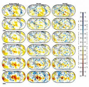 Сейсмотомографические сечения на разных глубинах (900, 1200, 1600, 2000, 2400, 2800 км) в нижней мантии Земли Скоростные модели S- и Р-волн: Scripps, SB4L18; Princeton, PRI-S05, and Princeton, PRI-P05