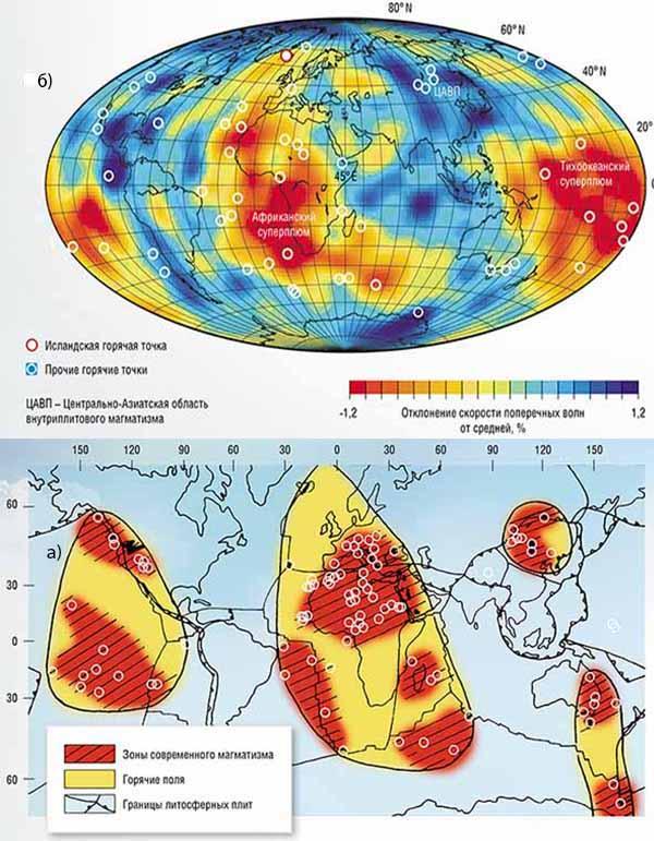 Африканский и Тихоокеанский суперплюмы.