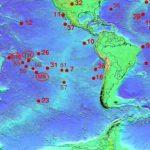 Плюмы Островов Кука (Cook), Самоа (Samoa), Таити (Tahiti), подводной горы Макдональд (Macdonald)