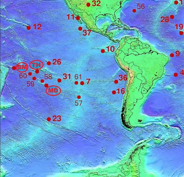 Схема горячих точек Самоа, Таити, Макдональд