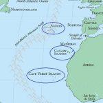 Плюмы: Азорские острова (Azores), Канарские острова (Canary), Кабо-Верде (Cape Verde).
