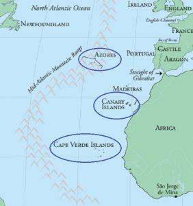 Географическая схема Азорских островов, Канарских островов и островов Зелёного мыса (Кабо-Верде).