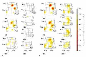 Реконструкция синтетического плюма, располагающегося в верхней мантии (с) и реконструкция синтетического плюма, простирающегося до глубины 2800 км (d) с целью тестирования на разрешение данных для плюмов Азорские острова (AZ), Канарские острова (CN) и Кабо-Верде (CV).