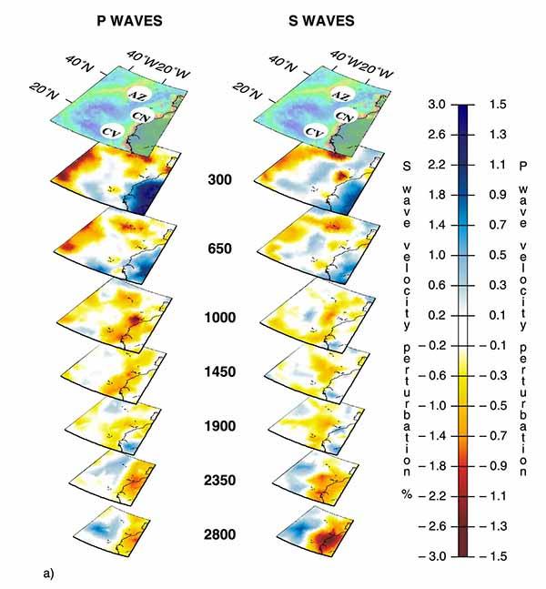 Трехмерный вид мантийных плюмов под горячими точками Азорские острова (AZ), Канарские острова (CN), Кабо-Верде (CV) по данным томографии на P-волнах (слева) и S-волнах (справа).