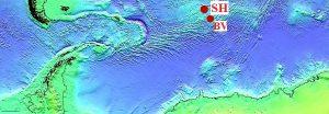 Географическая схема горячих точек Буве (Bouvet), Шона (Shona).