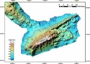Батиметрическое карта подводной горы Bowie
