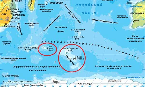 Архипелаг Кергелен, Острова Крозе.