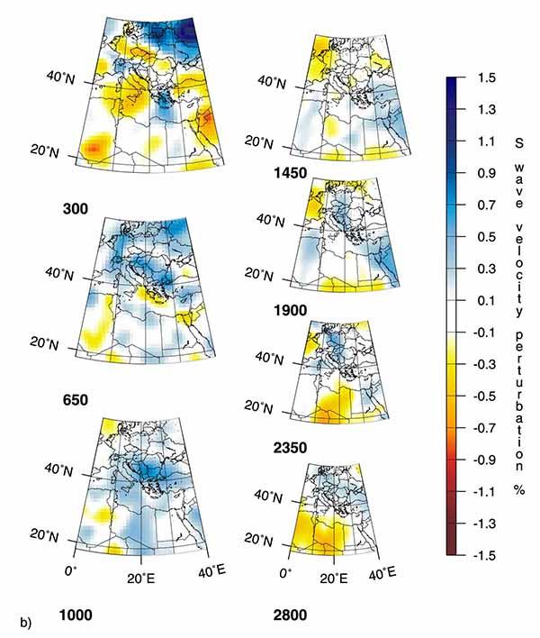 Рисунок . Горизонтальные сечения трехмерных мантийных плюмов по данным томографии на S-волнах под горячими точками Эйфель (EF), Этна (ET).