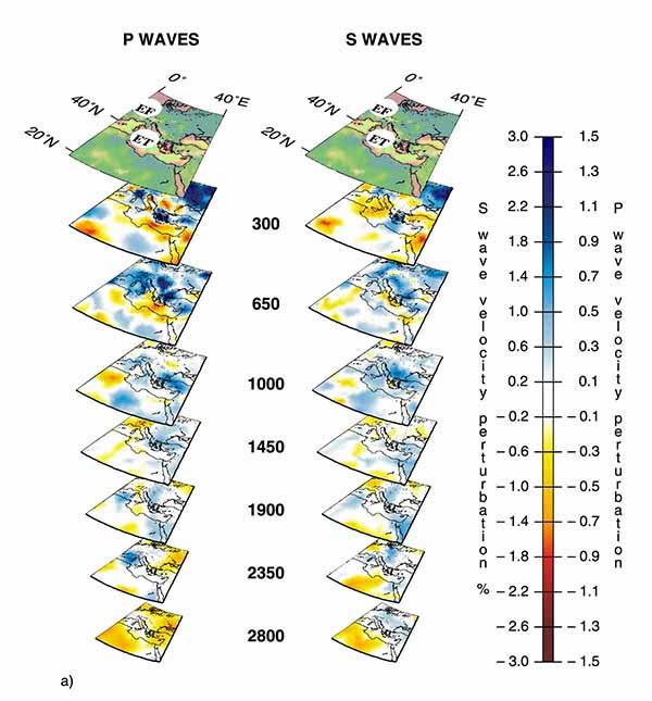 Трехмерный вид мантийных плюмов под горячими точками Эйфель (EF), Этна (ET) по данным томографии на P-волнах (слева) и S-волнах (справа).