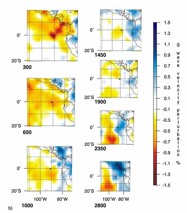 Горизонтальные сечения трехмерных мантийных плюмов по данным томографии на S-волнах под горячей точкой Галапагосские острова (GL).