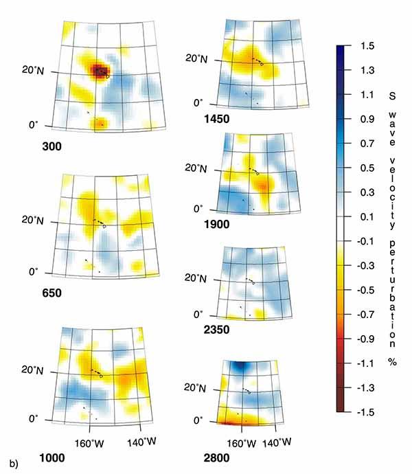 Горизонтальные сечения трехмерных мантийных плюмов по данным томографии на S-волнах под горячей точкой Гавайи (HW).