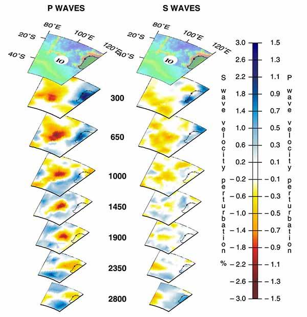 Трехмерный вид мантийных плюмов под горячей точкой в Индийском океане (IO) по данным томографии на P-волнах (слева) и S-волнах (справа).