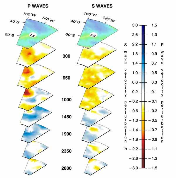 Трехмерный вид мантийных плюмов под горячей точкой Луисвилл (LS) по данным томографии на P-волнах (слева) и S-волнах (справа).