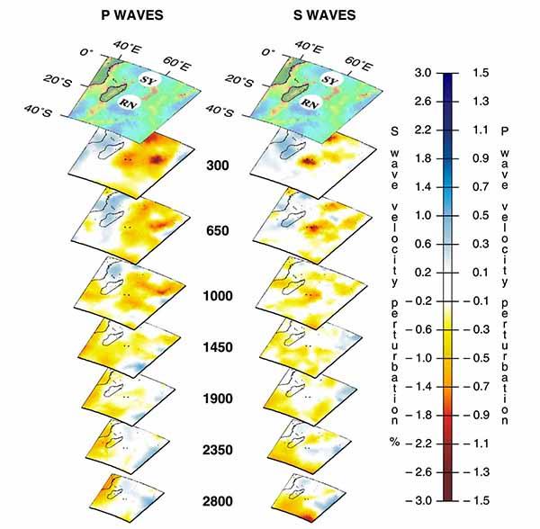 Трехмерный вид мантийного плюма под горячими точками Воссоединения (Reunion - RN) и Сейшельские острова (SY) по данным томографии на P-волнах (слева) и S-волнах (справа).